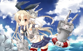 Картинка море, девушка, поза, робот, удивление, art, kantai collection, kanan asuka, shimakaze, rensouhou-chan
