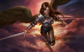 Обои оружие, взгляд, крылья, арт, ангел, доспехи, Jason Engle, angel, полет, меч, фантастика