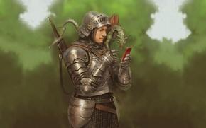 Картинка дракон, воин, телефон, рыцарь, латы, смартфон