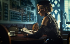 Картинка чтение, blond, black dress, Elegant, retro woman