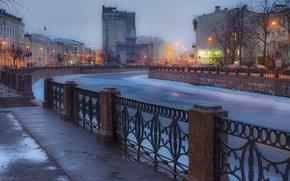 Картинка Зима, Вечер, Питер, Река, Санкт-Петербург, Russia, спб, St. Petersburg, spb, Ленинград, Piter, Peterburg