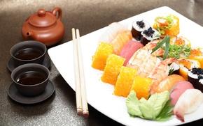 Картинка роллы, японская кухня, имбирь, соус, суши