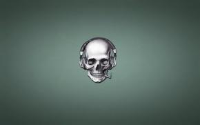 Картинка дым, череп, наушники, сигарета, скелет