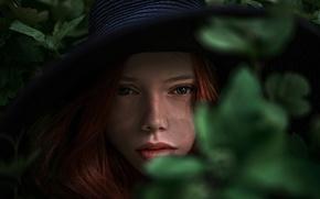 Картинка листья, веснушки, шляпка, Катя, Катюша, Георгий Чернядьев, Екатерина Ясногородская