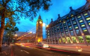 Обои дорога, ночь, огни, лондон, london, Big Ben at Dusk