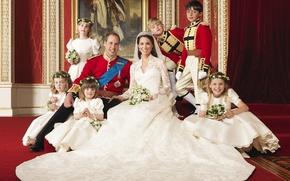 Обои свадьба, детки, цветочки, принц Уэльский, Кетрин Миддлтон, кейт, свадебное платье, фата