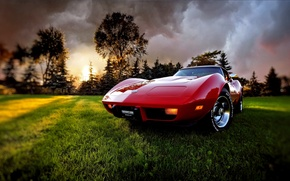 Картинка трава, закат, тучи, вечер, Corvette, Chevrolet, 1969, шевроле, корвет