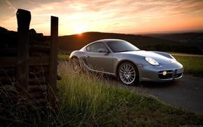 Обои Porsche, Серый, Cayman