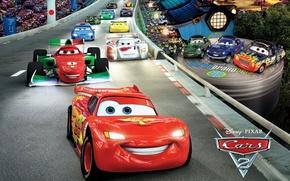 Картинка молния, pixar, трек, спорткары, Cars 2, тачки 2