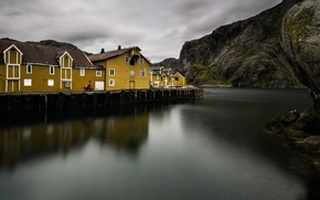 Картинка море, горы, скалы, дома, деревня, Норвегия, фьорд