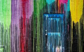 Обои дверь, краски, стена
