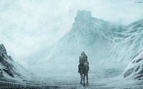 Картинка снег, путь, всадник, метель