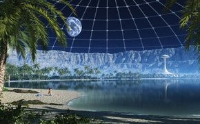 Обои на луне, пляж, my beach in a moon crater