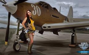 Обои MMO, WoWp, World of Warplanes, ножки, aviation, BigWorld, девушка, Wargaming.net, авиа, girl, Мир самолётов, Persha ...