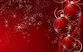 Обои красный, шары, новый год