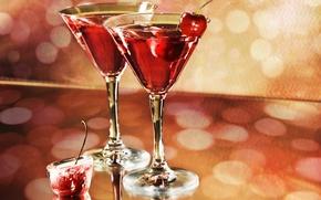 Обои мартини, праздник, бокалы