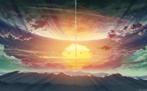 Картинка anime, byousoku 5 centimetre, paisaje, genial