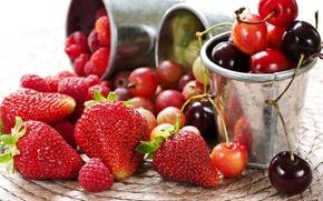 Картинка ягоды, малина, клубника, крыжовник, черешня