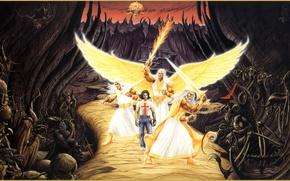 Картинка дорога, картина, ангелы, Родни Мэтьюз