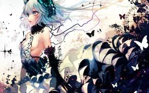 Картинка девушка, бабочки, магия, аниме, корона, арт, renkarua