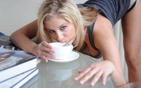Картинка чай, блондинка, красотка