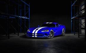 Картинка white, srt, viper, dodge, blue, stripes
