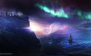 Картинка dreamworld, корабль, вода, северное сияние, планета, desktopography, свечение