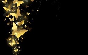 Картинка бабочки, фон, золото, golden, design, background, sparkle, butterflies