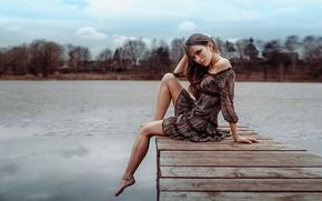 Обои прелесть, Galina, красивая, девушка, Георгий Чернядьев, платье, модель, портрет, поза, мостик, sexy, Галина Котова, ножки, ...