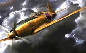 Картинка рисунок, арт, Mitsubishi, Raiden, J2M, ВВС Императорского флота Японии