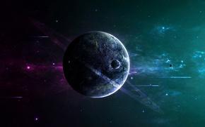 Картинка dark, Star, night, planet, space ships, Sci Fi