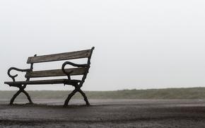 Картинка road, fog, bench