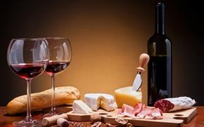 Обои бутылка, камамбер, батон, вино, красное, сыр, хлеб, колбаса, бокалы, мясо