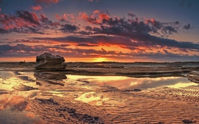 Картинка отлив, море, вечер, пляж, закат