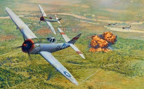Картинка небо, огонь, атака, рисунок, взрывы, цель, арт, бомбардировка, P-47, WW2, американские, Republic P-47 Thunderbolt, «Тандерболт», …