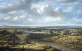 Обои природа, картина, Речной Пейзаж, Конинк Филипс