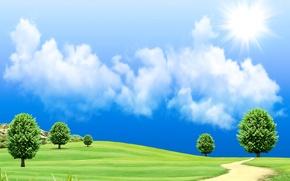 Картинка дорога, поле, небо, трава, солнце, облака, деревья