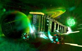 Картинка космос, звезда, корабль, планета, истребитель, бой, арт, зелёный, космический, Фантастика, крейсер, FullHD