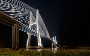Картинка звезды, ночь, огни, Португалия, Лиссабон, мост Васко да Гама