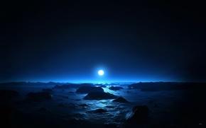 Картинка море, ночь, луна, Синяя ночь