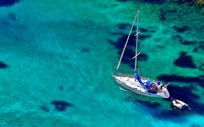 Обои море, вода, лодка, яхта