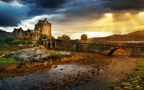 Картинка небо, мост, город, фото, замок, развалины, Великобритания, Eilean Donan