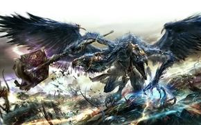 Картинка демон, битва, хаос, космодесант, Warhammer 40k, lord of change, тзинч, Tzeentch