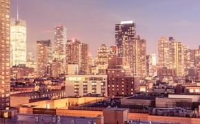Картинка lights, USA, United States, skyline, New York, Manhattan, NYC, New York City, dusk, architecture, Midtown …