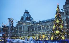 Картинка огни, елка, новый год, Москва, гирлянды