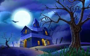 Обои Хеллоуин, ночь, ужас, страшно