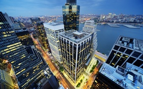 Картинка здания, Нью-Йорк, ночной город, Манхэттен, небоскрёбы, Manhattan, New York City
