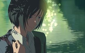 Картинка Девушка, Взгляд, Озеро, Girl, Аниме, Макото Синкай, Anime, The Garden Of Words, Makoto Shinkai, Котоноха …