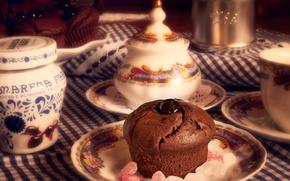 Картинка тарелка, посуда, пирожное, десерт