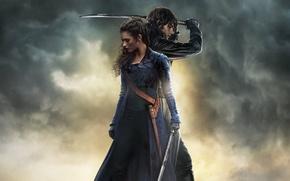 Картинка cinema, girl, sword, gun, blood, sky, dress, woman, cloud, power, katana, man, movie, ken, blade, …